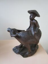 CHINESE CARVED FIGURINE OF CHILD  Water Buffalo [*WOOD]