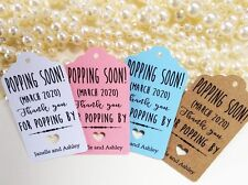 10 Kraft Tags Baby Shower Favour Personalised Bomboneire Popping Soon Boy Girl