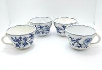"""Antique Meissen Blue Onion 4 Tea Cups, Crossed Swords, No Saucers, 2 3/8"""""""