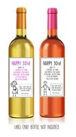 Funny, alternative, sarcastic, WINE LABEL. 30th birthday. Present/Gift. Him/Her