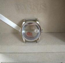 Fit For ETA 2824 Retro Steel Datejust Fluted Bezel Watch Case Movement Silver