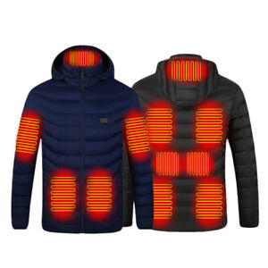 11 Area Men Heated Jacket Women Winter Electric Heating Thermal Coat USB Charge