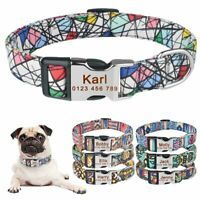 Personalized Dog Collar Polyester Floral Custom Engraved Name ID Male Female Pet