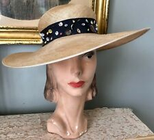 Vintage 1950's Straw Wide Brim Hat W/ Unique Shell Trimmed Ribbon Band