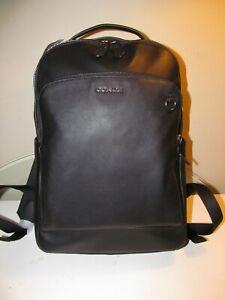 "Coach Graham Black Calf Leather 15"" Laptop-Bookbag-Tablet Backpack, F89839, NWT"