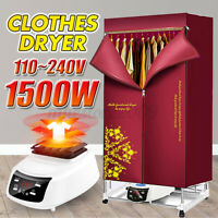 1500W 2-Tier Electric Clothing Dryer Remote Control 110-240V Heater Safety