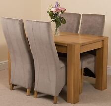Kuba Chunky 125cm Kitchen Solid Oak Dining Set Table and 4 Grey Fabric Chairs