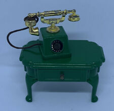 Sylvanian Families Vintage Telephone Phone & Side Table Green Furniture Rare