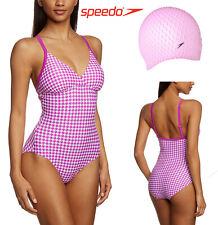 12 Speedo Crossback Padded Swimsuit  Pink/White +FREE Pink Speedo Cap