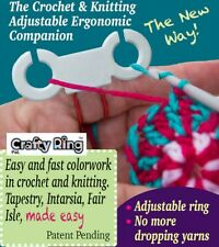 The Crafty Ring® 2 color Crochet / Knitting Finger Tool Yarn Guide Ring Gift