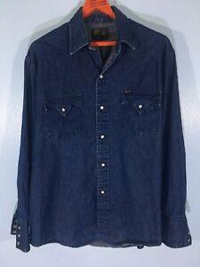 Vintage Bar M Rancher DENIM Western Folk 70s Pearl Snap Long Sleeved Shirt L