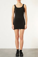 Topshop Sz 10/38 Topshop Black Bodycon Tunic Mini Dress with Ribbed Panel New
