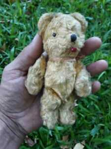 Antique Small Teddy Bear 6 inches & eyes glass