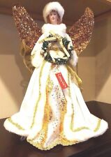 holiday home 17 caucasian christmas angel wwhite fur gold metallic accents