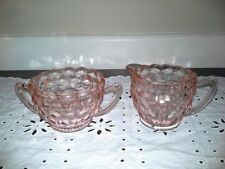 """PINK DEPRESSION GLASS """"Cube""""  Creamer and Sugar JEANNETTE PATTERN"""