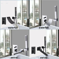 Wall Mount 3 PCs Black/Chrome Bath Tub Basin Mixer Faucet Hand Held Shower Spray