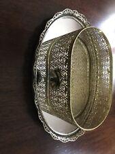 Vintage Oval  Ornate Gold Filigree Mirror Vanity Tray with Basket