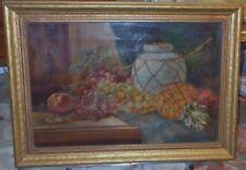 Fruit Pottery Jug Pineapple Still Life Antique Estate Oil Canvas art Painting