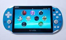 Sony PlayStation Vita PS Vita Aqua Blue & White PCH-2000 Console 3.65