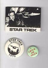 STAR TREK pins 3 Old UNUSUAL Buttons pinbacks