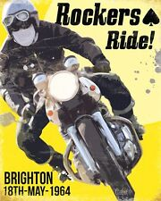 "10"" x 8"" ROCKERS RIDE BRIGHTON 1964 BIKER MOTORCYCLE METAL PLAQUE TIN SIGN 524"