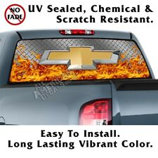 Chevy Diamond Plate &Flames Back Window Graphic Perforated Film Decal Truck SUV