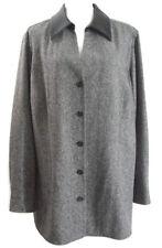 Nordstrom Womens Dress Jacket Gray Black 100% Wool Career Size 2X