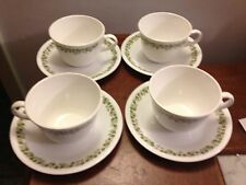 Corelle SPRING BLOSSOM GREEN Crazy Daisy cups and saucers service for 4 (8pc)