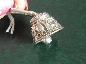 7B SOLID SILVER EXTREMELY DETAILED WORKING HAND BELL CHARM / PENDANT