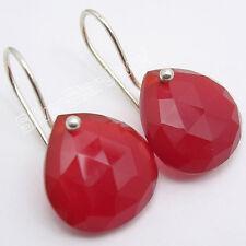 """925 STERLING Silver Fabulous RED CARNELIAN BIG HEART Dangle Earrings 1"""""""