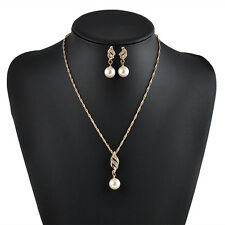 Elegant Women Jewelry Sets Pearl Crystal Rhinestone Earring Necklace Pendant Set