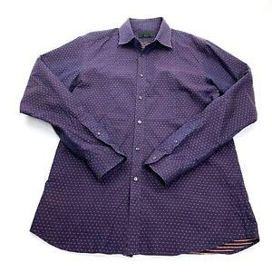 Diesel Black Gold Men's Button Front Shirt 52 L Purple Orange Accents
