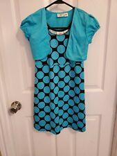 Cato Girls 2-Piece Sleeveless Dress W/Short Jacket Black & Turquoise Size 10-12