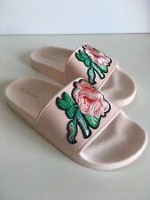 Top Moda Pink Embroidered Rose Slides Size 6
