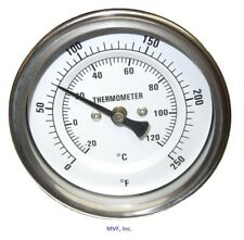 """Thermometer 3"""" Face 4"""" Stem 0-250*F/C 1/2 Npt Back w/Reset <625F1"""