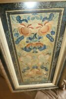 """Antique CHINESE EMBROIDERED SILK PANEL Embroidery Forbidden Stitch 11x21"""" Frogs"""