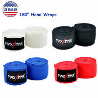 "MaxxMMA 180"" Nylon Poly Hand Wraps in Black Blue Red or White (pair), boxing"