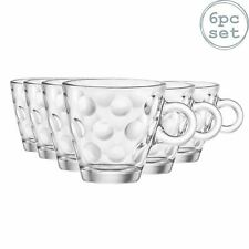 Espresso Coffee Glasses Clear Cups 85ml, Bormioli Rocco Dots - Set of 6
