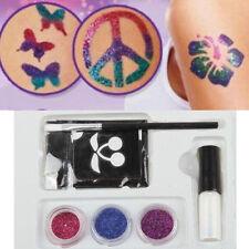 Halloween Xmas Body Art Glitter Powders Tattoos Stencils Brushes Glues Kits Tool