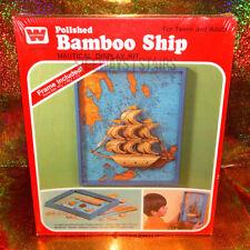 WHITMAN POLISHED BAMBOO SHIP DISPLAY W/ FRAME vintage nautical craft kit 1973