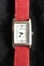 Talbots Women's Wristwatch Red Band Silver Rectangle Face