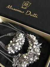 NWT MASSIMO DUTTI NECKLACE BRACELET SET SILVER CRYSTAL PEARL (ZARA) RRP60€ MD4