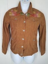 Odille Jacket size XS tan corduroy floral embroidered womens long sleeve button