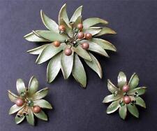 Vintage Signed KRAMER Green Enamel Demi-Parure Pin Brooch Clip on Earrings