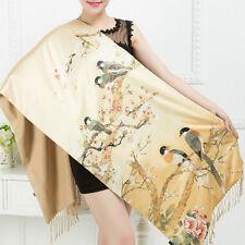 New Vintage 100% Silk Lady Twill Double Layer Shawl Scarf With Bird