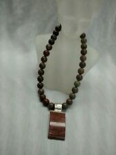 Pretty  Jay King mine finds brown stone pendant  925 clasp necklace