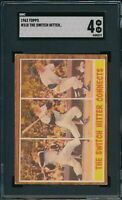 1962 Topps 318 The Switch Hitter Connects Mickey Mantle SGC 4 NOT PSA *OBGcards*