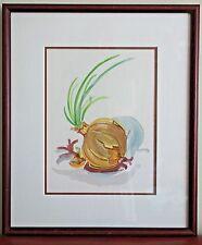 Yellow Onion Original 1996 Watercolor Still Life Painting by Bernice Walker