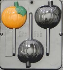 """Pumpkin Lollipop 3"""" x 3 1/4"""" Chocolate Candy Mold Halloween  955 NEW"""