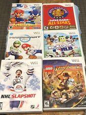 Nintendo Wii Lot Of 6 Untested Games. Super Mario, Indiana Jones, NHL Slapshot.